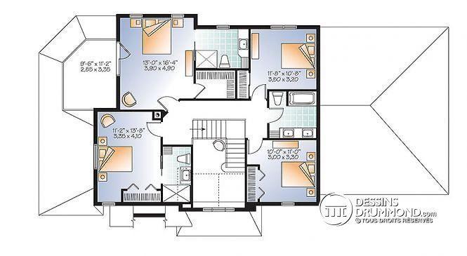 Étage Plan maison Craftsman, poutres bois rustique, 4+ chambres, 4 s