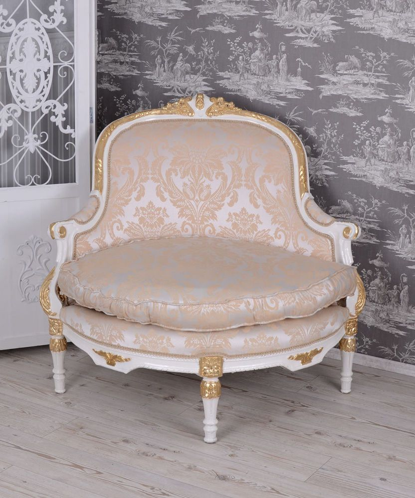 High Back Antique Sofa Baroque Style Chair Canapé White Vintage Sofa Antique Style Armchair