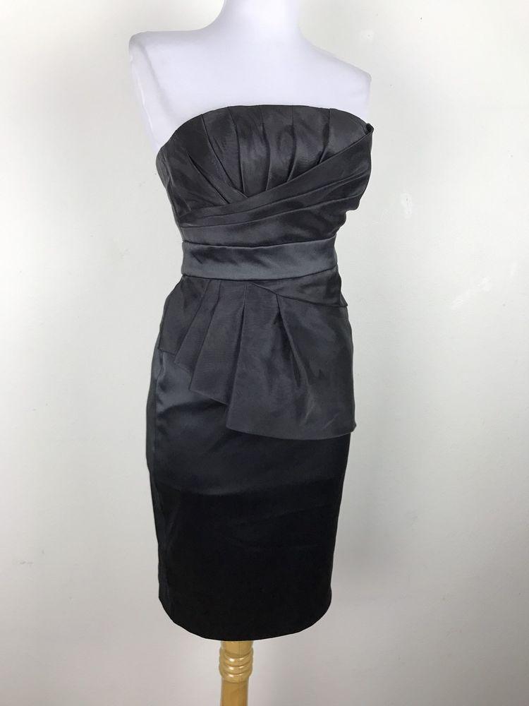 dd9ab5080c926 White House Black Market Dress WHBM Cocktail Party Black Mini Size 00  Ruched #WhiteHouseBlackMarket #Cocktail