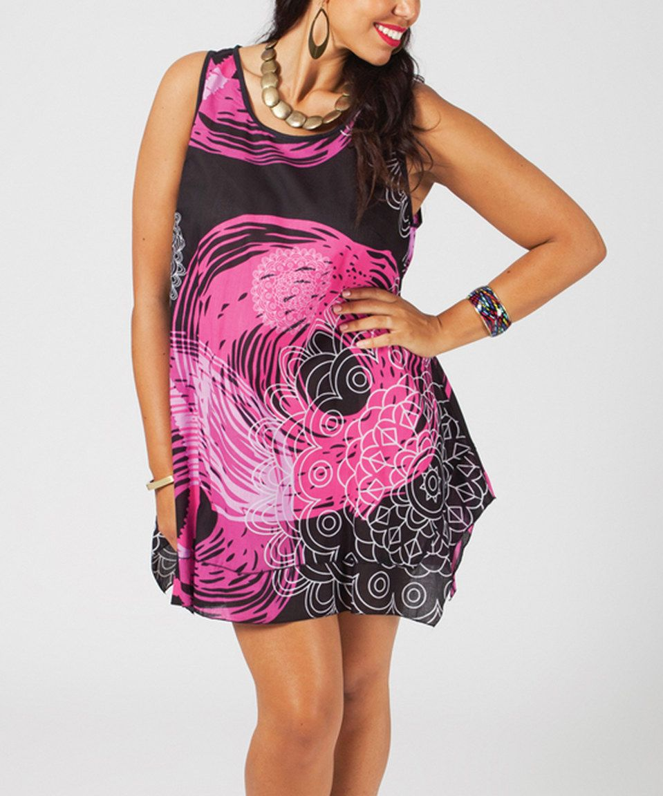 Black & Fuchsia Abstract Asymmetric-Hem Sleeveless Dress - Plus by Aller Simplement #zulily #zulilyfinds
