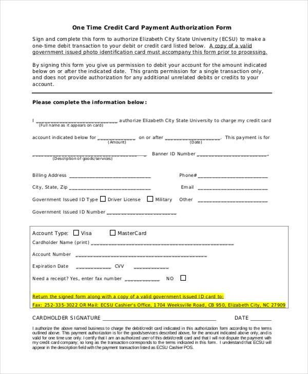 One Time Payment Credit Card Authorization Form Sample Letter