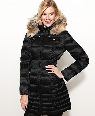 Laundry By Shelli Segal Coat Faux Fur Trim Hooded Parka Puffer