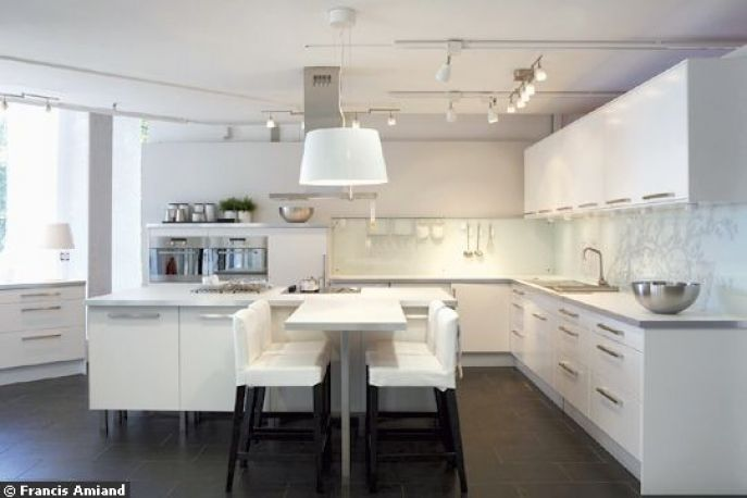 Cuisine Ikea Faktum Abstrakt blanche | Une jolie cuisine | Pinterest ...