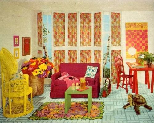 60 S Living Room In Yellow Cream Living Room Furniture 60s Living Room Vintage Interior Design