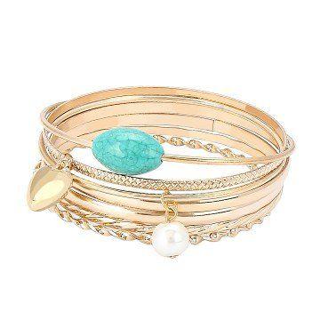 Simple Bangle Bracelet Set in Shiny Gold - US$5.95 -YOINS