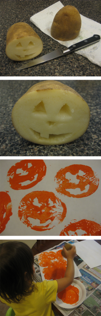 Potato stamp #pumpkins! Great idea for this Halloween! / #KidOrganic #FruitsandVegetables www.OrganicLearningAdventure.com