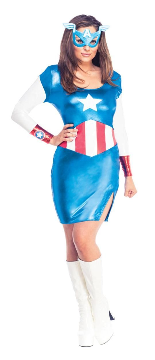 Capped Sleeve and Skirt Blue with White Stars with White Costume Youth Woman Super Hero Costume