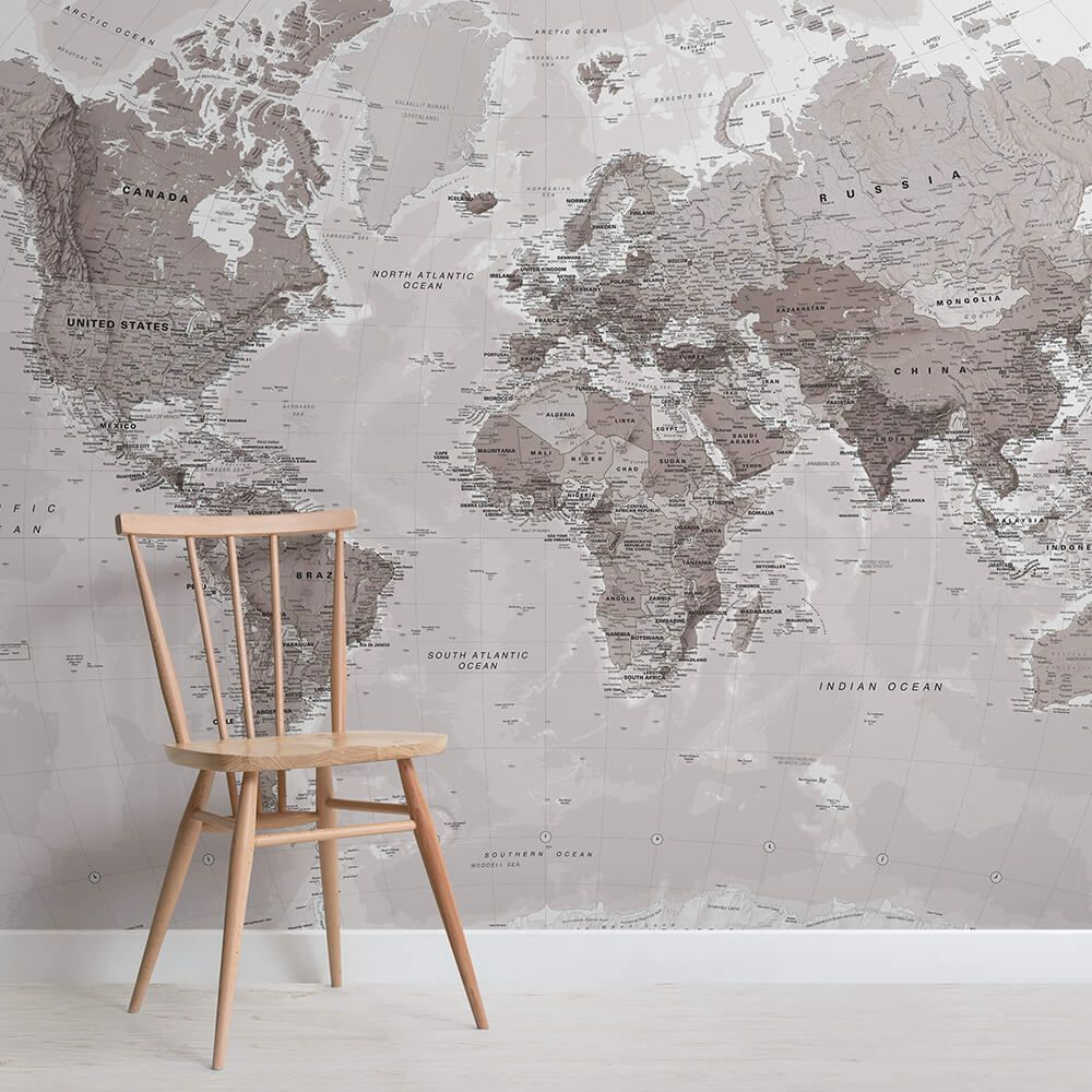 Neutral Shades World Map Wallpaper Mural #worldmapmural