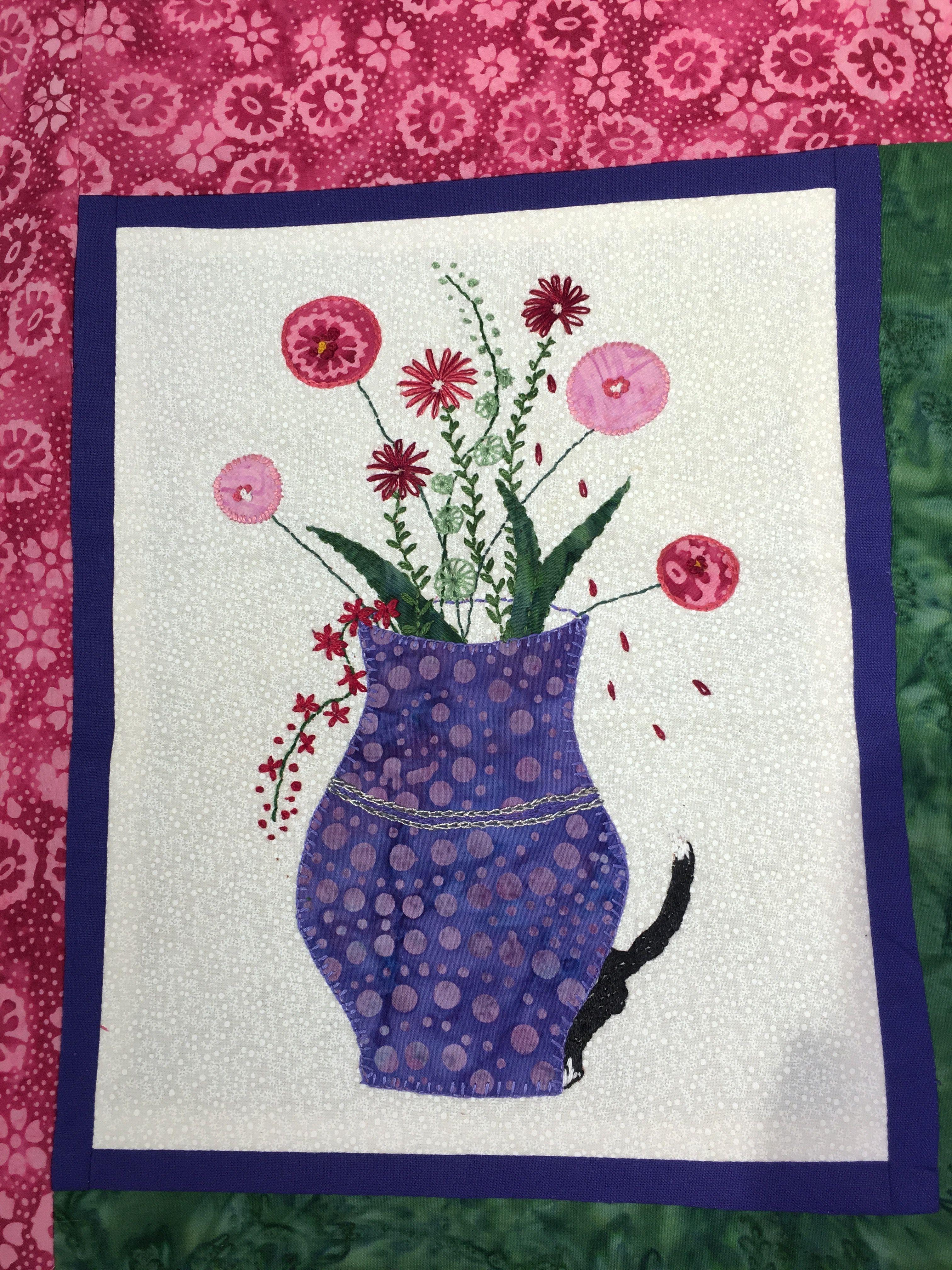 Disse fine blomster er syet af min kursist Ulla Nilsson hos Speich Design i foråret 2016.