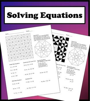 Solving Equations Color Worksheet in 2020 Solving