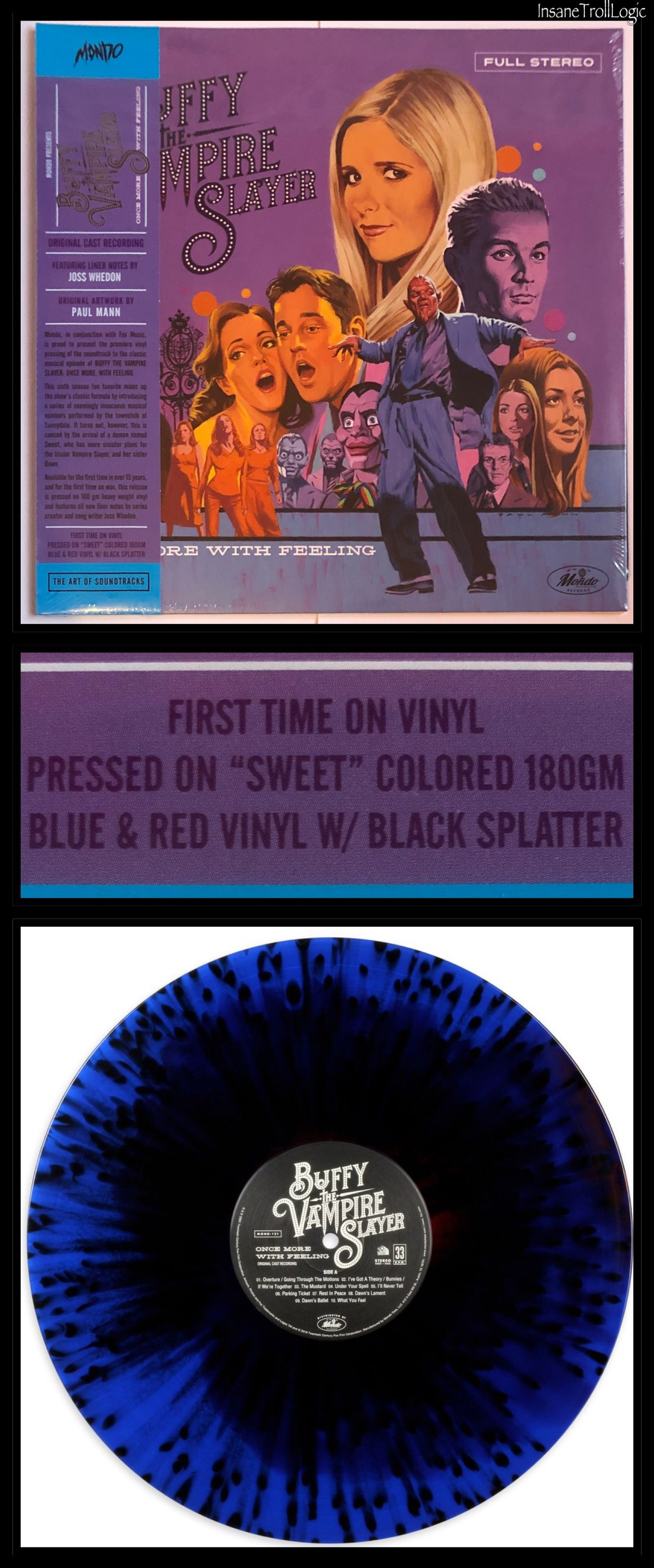 Buffy Tvs Collectibles Once More With Feeling Soundtrack Lp Sweet Blue Red W Black Splatter Mondo 2019 Buffy Buffy The Vampire Slayer