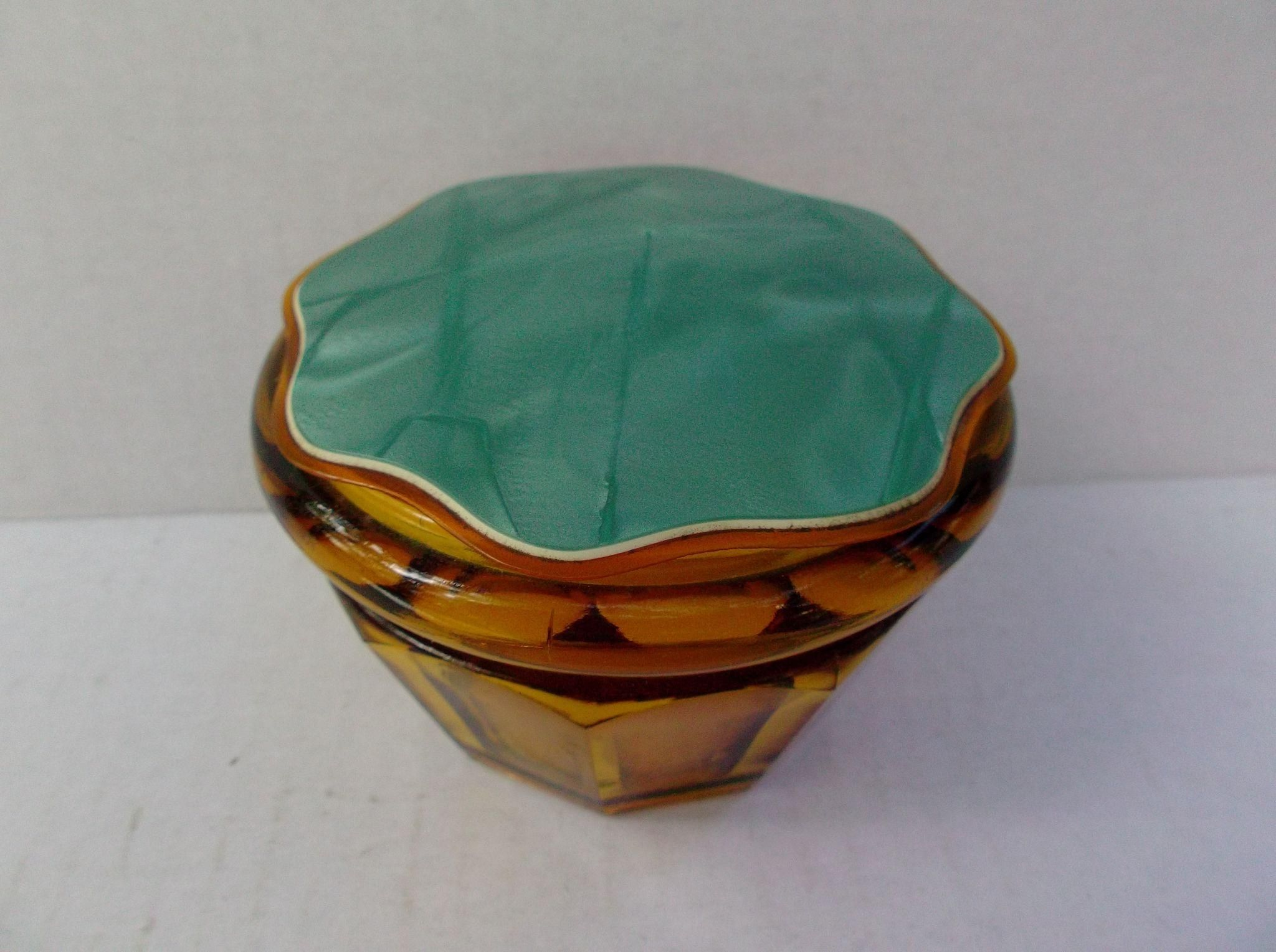 Amber Glass Vanity Powder Jar Box Celluloid Plastic Lid Vintage Paneled offered by #rubylane shop Saltymaggie's Treasures.