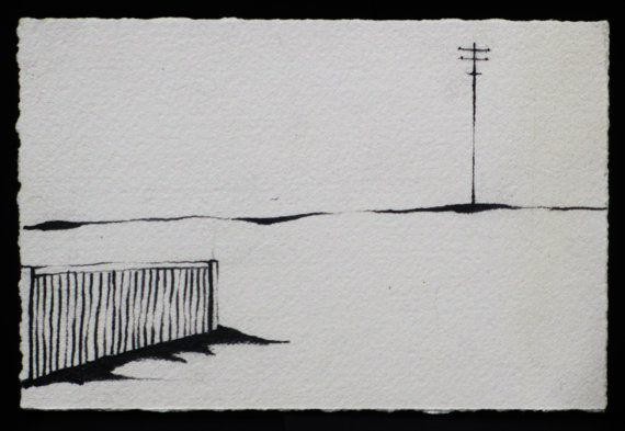 From paperscissorspulp.com.au:   This pencil drawing belongs to an original series of studies of Australian homes within the context our vast country. Space, shadow, light, line and emptiness within the drawings aim to bring form to emotions felt when experiencing life in our environment.