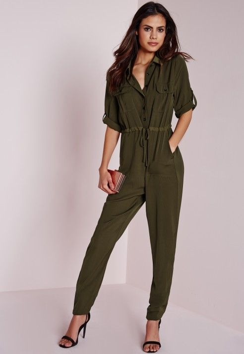 86201308651 Utility Jumpsuit in Khaki - Missguided