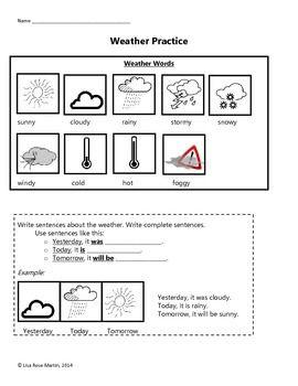 weather practice worksheet free tpt products worksheets english language learners. Black Bedroom Furniture Sets. Home Design Ideas