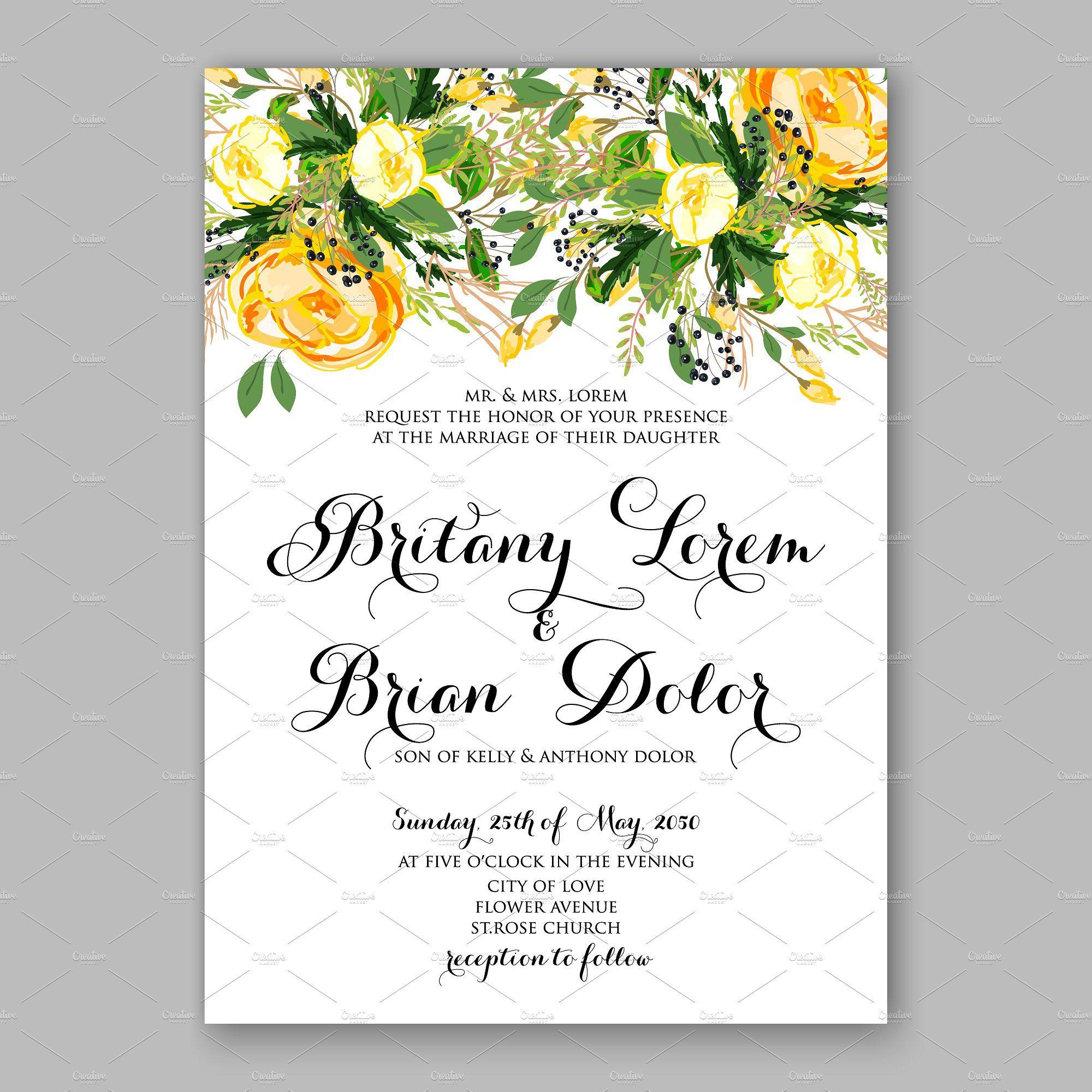 Wedding invitation Yellow rose  Yellow wedding invitations