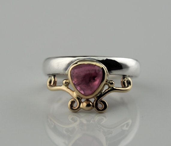 Pink Tourmaline silver rings Silver pink ring Silver by Baiwy
