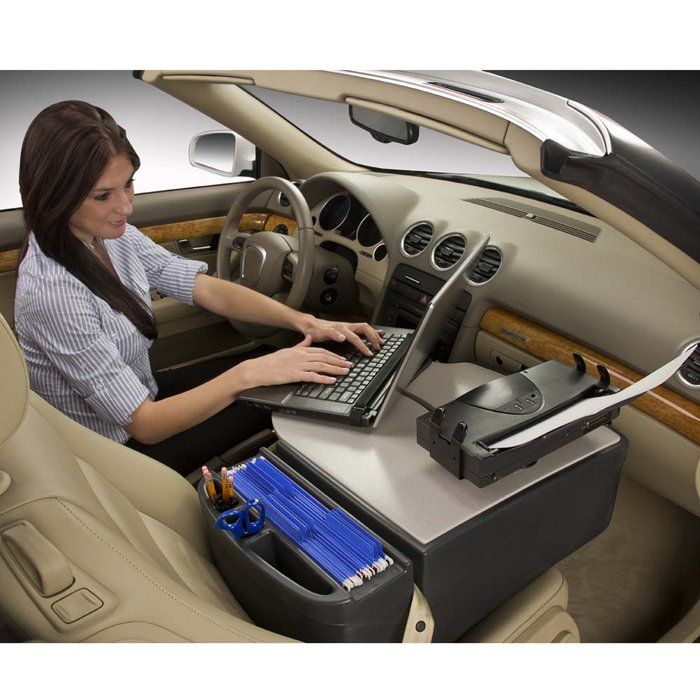 The Mobile Office Desk With An Adjule Laptop Plate Inverter And Printer Stand