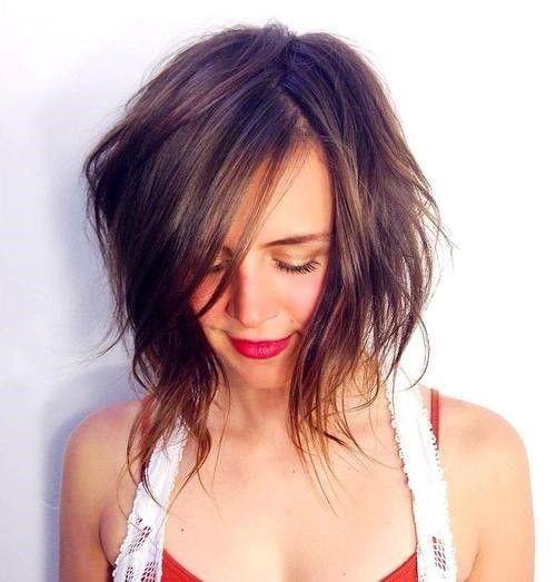 15 Edgy windigen lange Brünette bob für feines glattes Haar