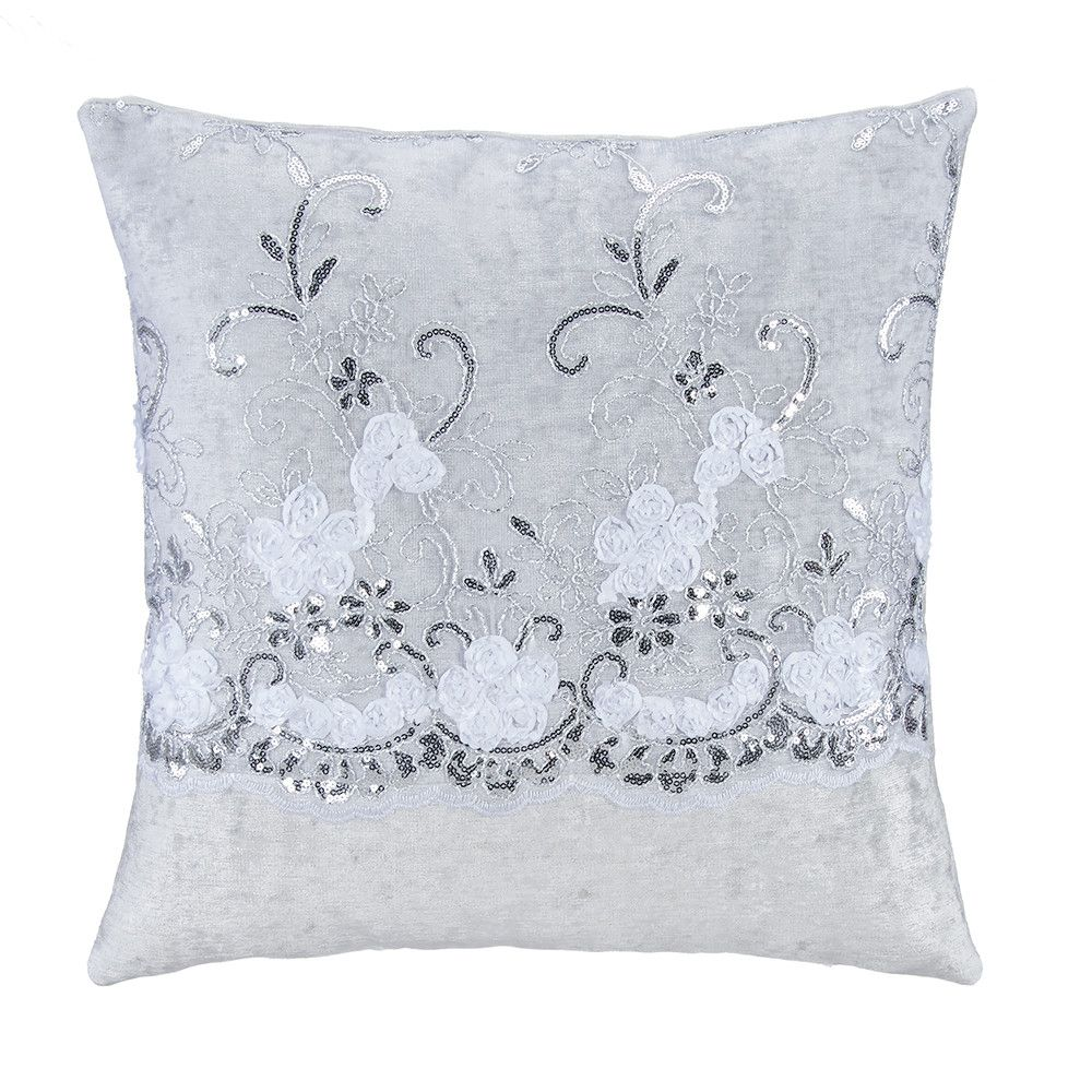 Ribbon flowers with sequins on tulle over velvet square pillow cover