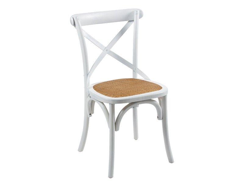 Silla vintage de madera y rattan sillas cruceta for Sillas blancas vintage