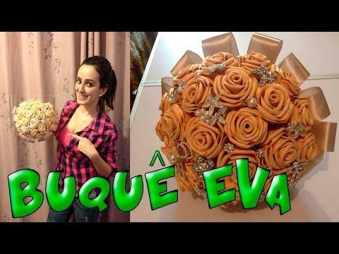 Buquê com flores de EVA e broches - DIY - YouTube