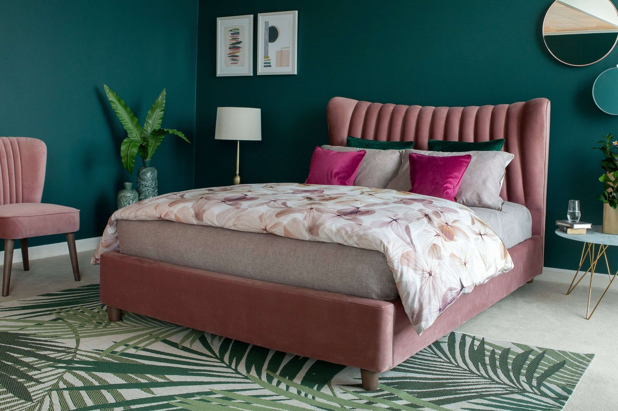 Super KingSize (6ft) Pink Fabric Bed Frame Rosey in