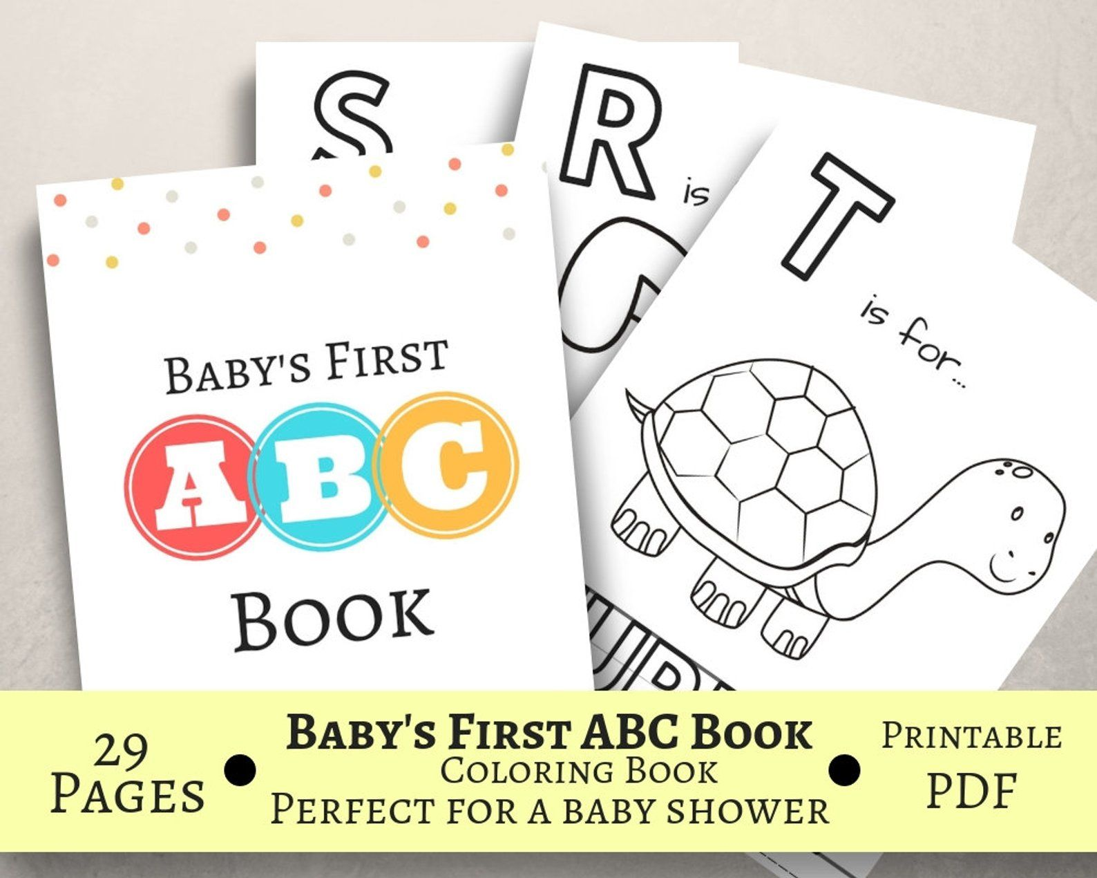 Baby S First Abc Book Baby Shower Game Coloring Book Printable Pdf Letter Size Prefilled Coloring Pages Baby Shower Book Abc Book Baby Shower Activities [ 1270 x 1588 Pixel ]