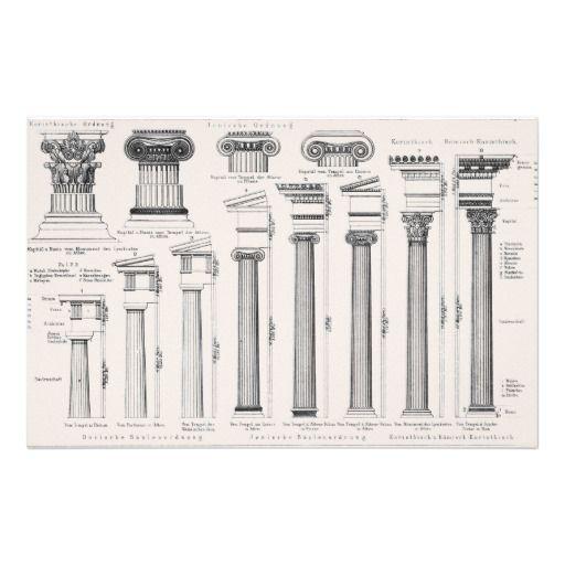 Roman Architecture Drawing ancient roman columns architectural drawing stationery | roman