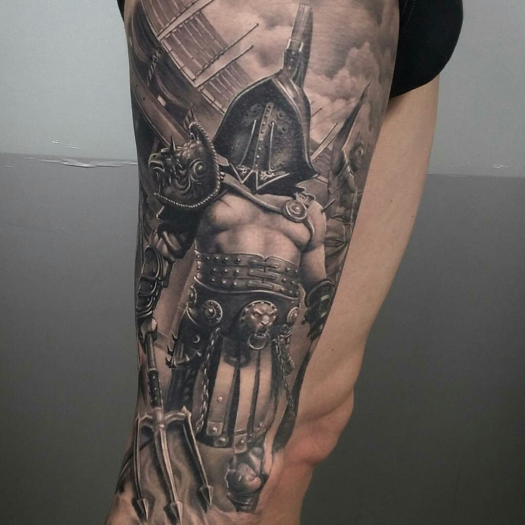 tattoo done by brian flores gladiator gladiador gladiatortattoo tattoos pinterest. Black Bedroom Furniture Sets. Home Design Ideas
