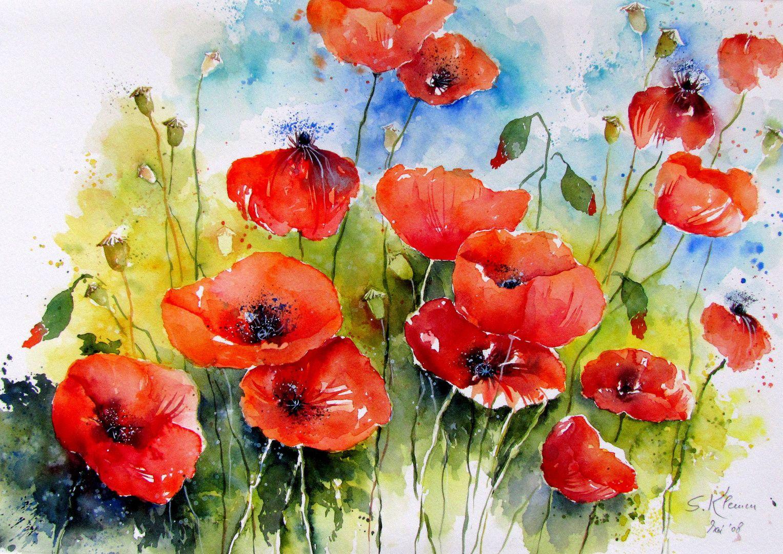 Mohnblumen Aquarell Mohnblumen Blumen Malen Mohn Malerei
