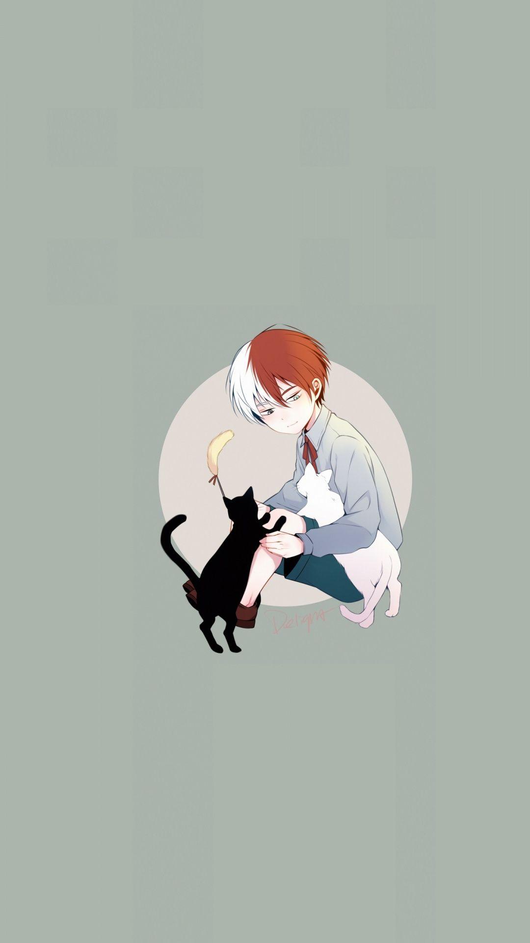 Cute Kid Shouto Todoroki And Kittens Art Wallpaper Anime Wallpaper Iphone Hero Wallpaper Cute Wallpapers