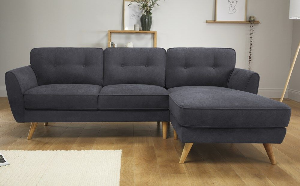 Harlow Slate Grey Plush Fabric L Shape Corner Sofa Rhf Corner Sofa Grey Corner Sofa Bed Grey Corner Sofa