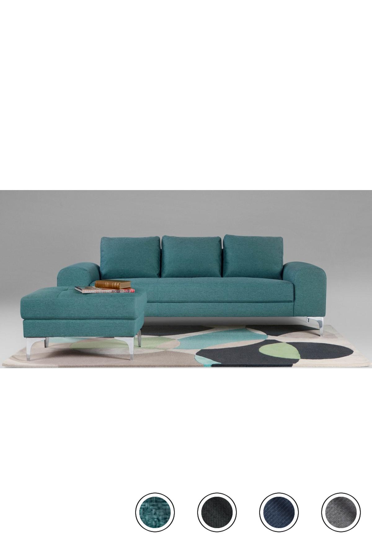 Made 3 Seater Sofa Teal Chrome Vittorio 3 Seater Sofas