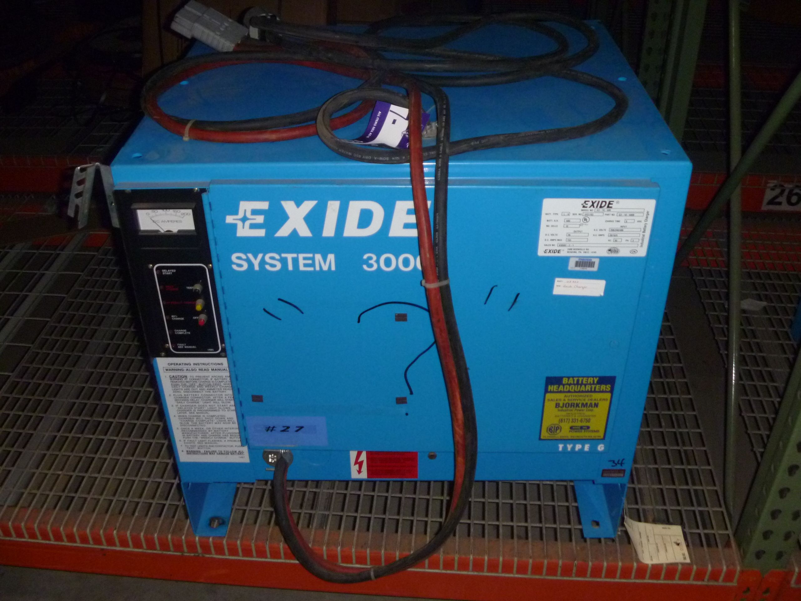 Exide System 3000 36volt Battery Charger, model G3-18-680B, battery type  L-A, 60hz, 3ph, 8 hr charge time, Batt Ha 680. Up for auction this  September ...
