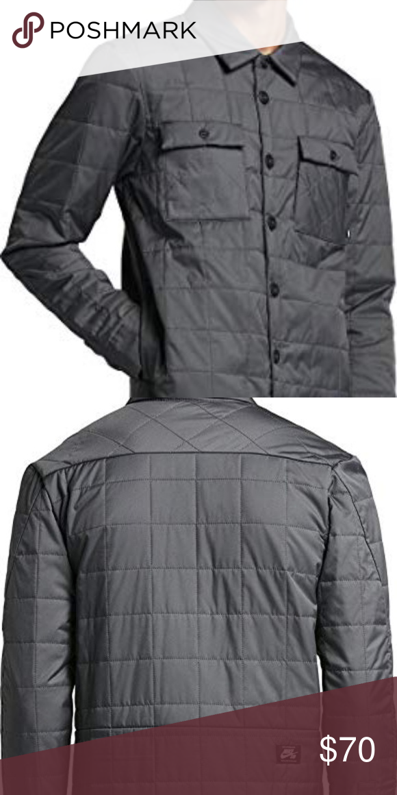 1b201579f NIKE SB Quilted Thermal Button-up Dark gray Nike SB Holgate Winterized  Men's Long-