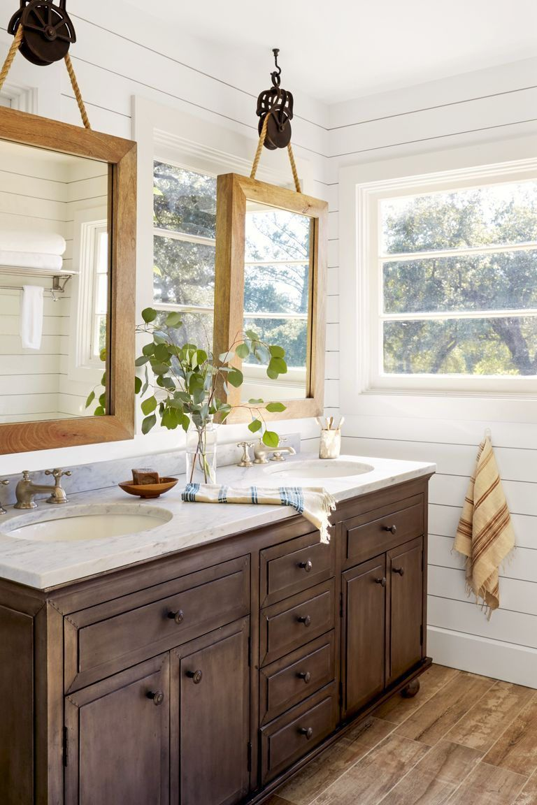Home Decor For Small Spaces Suspended Wooden Mirrors A Room Full Of Windows Makes Decorating Difficu Bathroom Mirror Design Eclectic Bathroom Elegant Bathroom