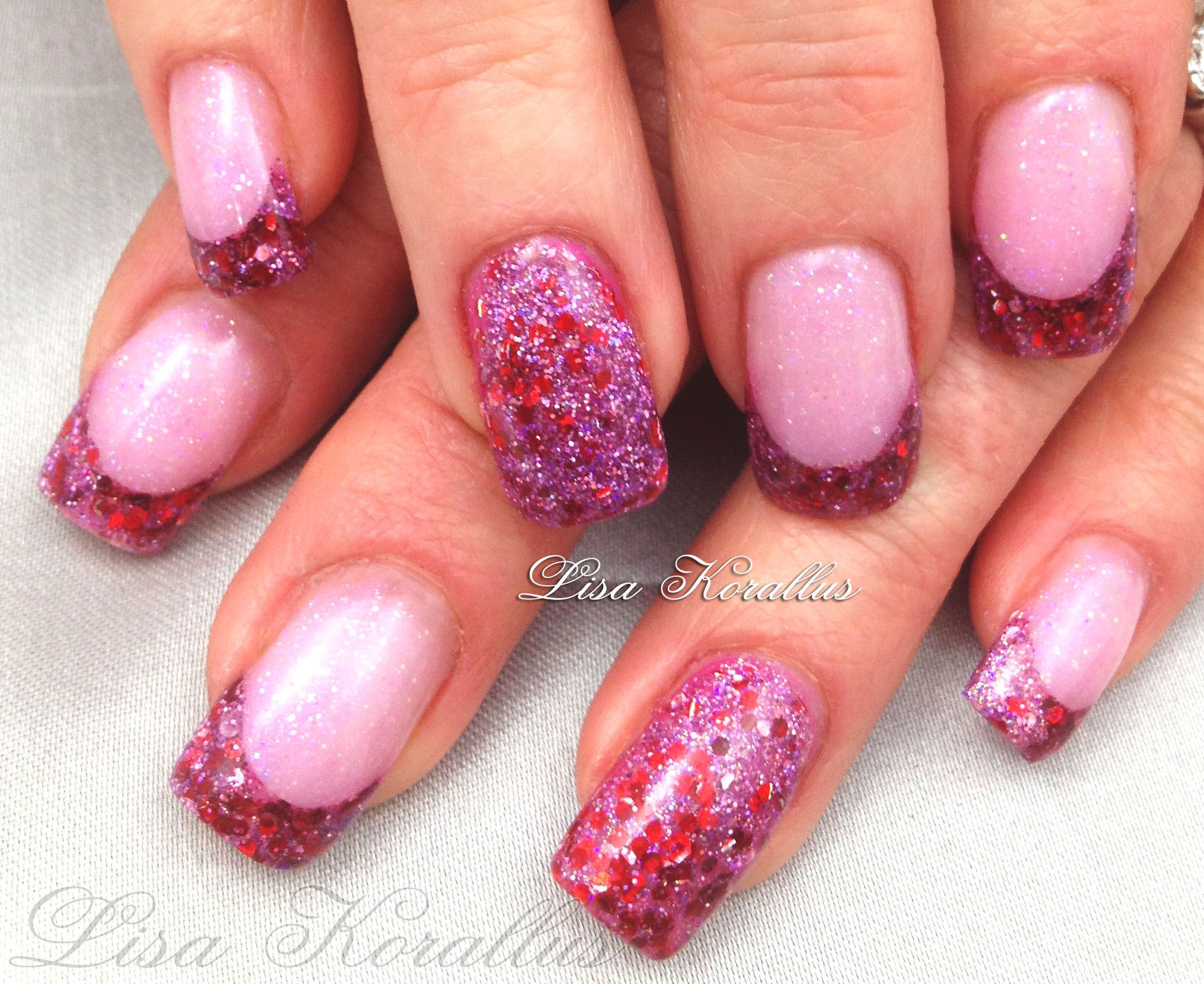 Sculpted pink and pink glitter gel enhancement.  #pinkandwhites  #frenchnails #gelnails #nailart #handpaintednails #naildesign #nails #lisakorallus #liquidglamour #nailpictures #nailsofpinterest
