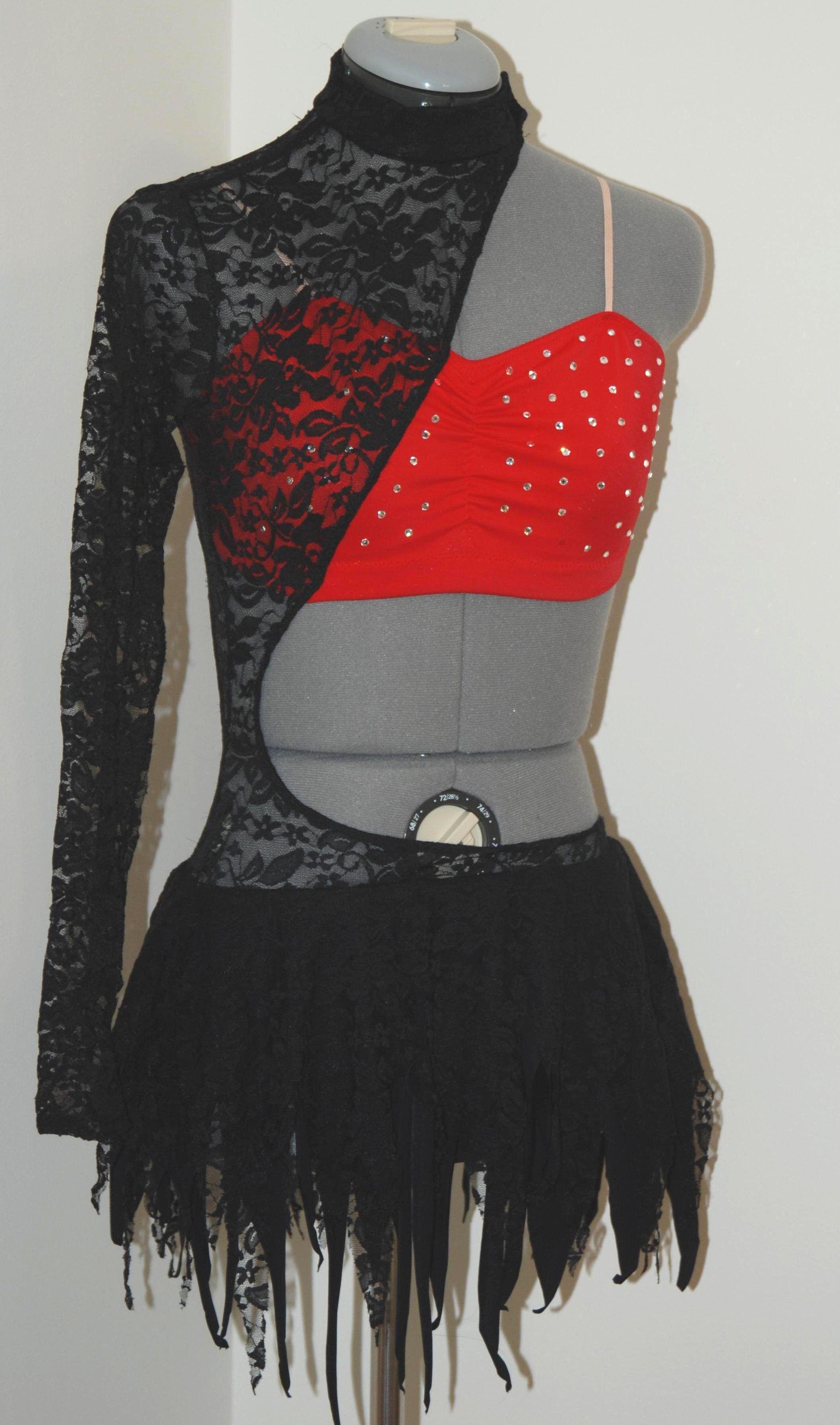 f225e479ca367 Purchase at www.glitzagain.com Used Competitive Dance Costumes, Red, Black  Lace, Rhinestones, Glitz, Glitter, Fun, Girly, Dancer, Contemporary, Lyrical