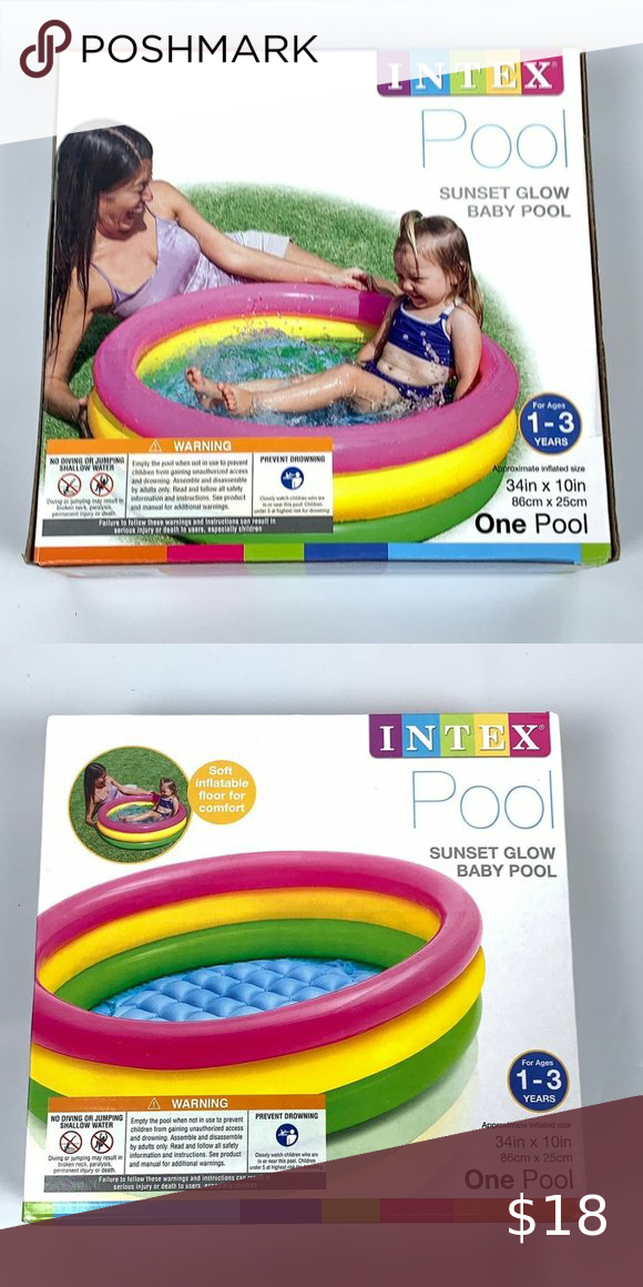 Intex Glow Baby Pool 34x10 NEW Intex Glow Baby Pool 34x10 Ages 1-3 3 Rings in Height Intex Toys