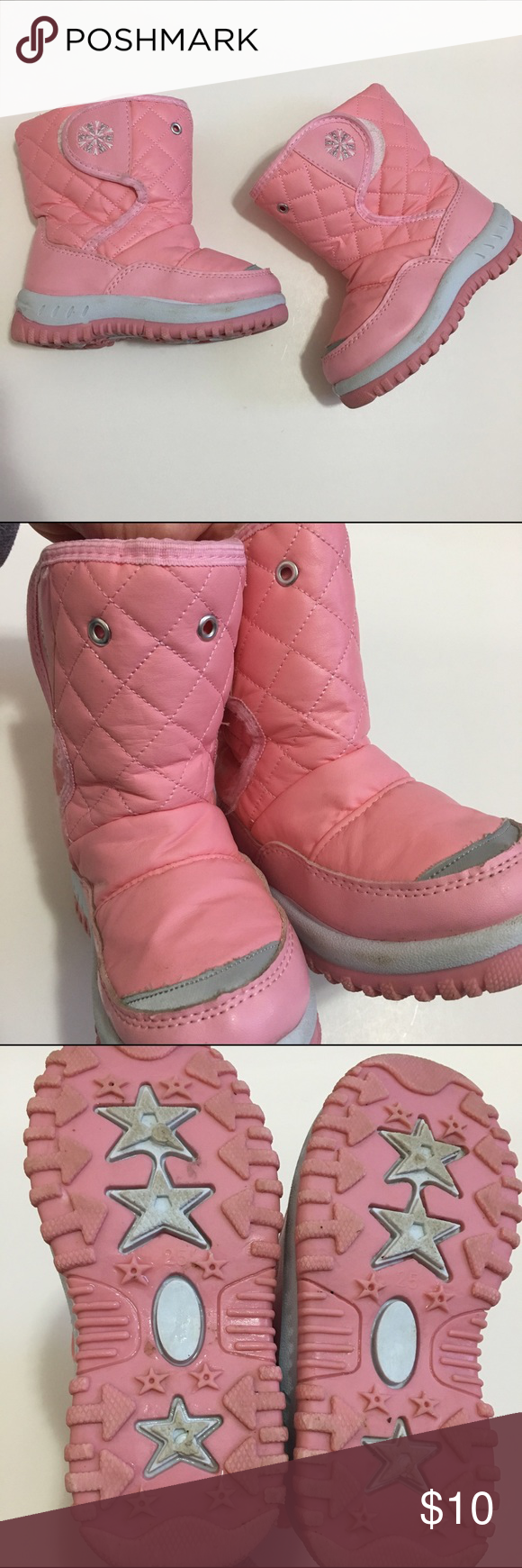 """Toddler girl's snow boots - size 7 Girl's pink toddler snow boots, size 7. Missing """"drawstring"""" which only served as decoration and was not functional. Show some signs of wear (smudges from dirt) but still very useful! Shoes Rain & Snow Boots"""