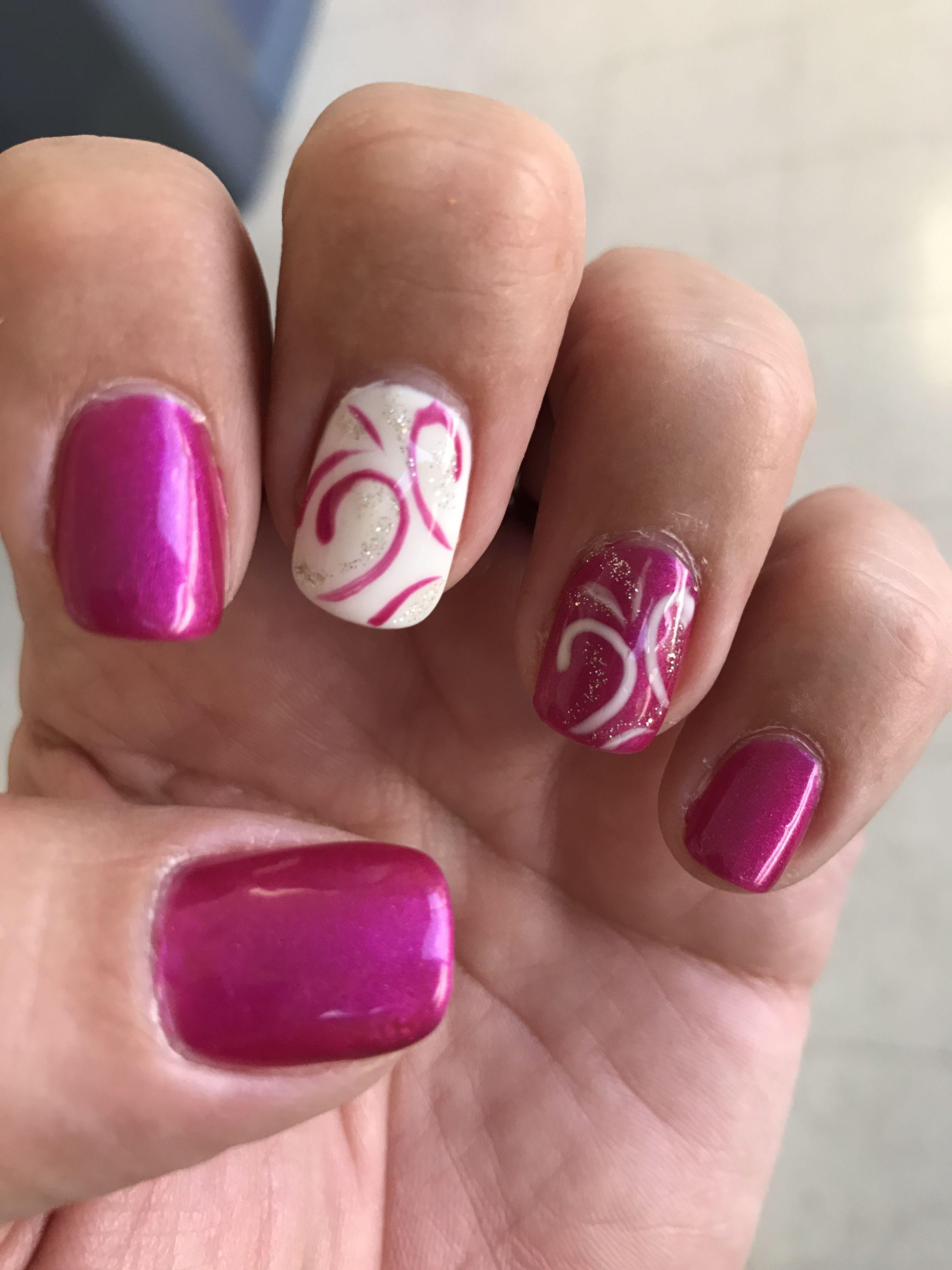 Fuschia purple pink white glitter gel nails   nail polish/design ...
