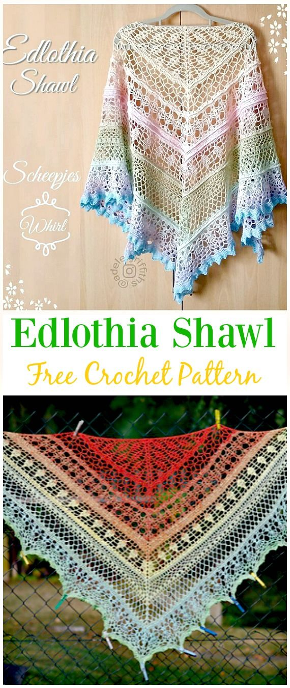 Crochet Edlothia Shawl Free Pattern - #Crochet; Women #Shawl ...