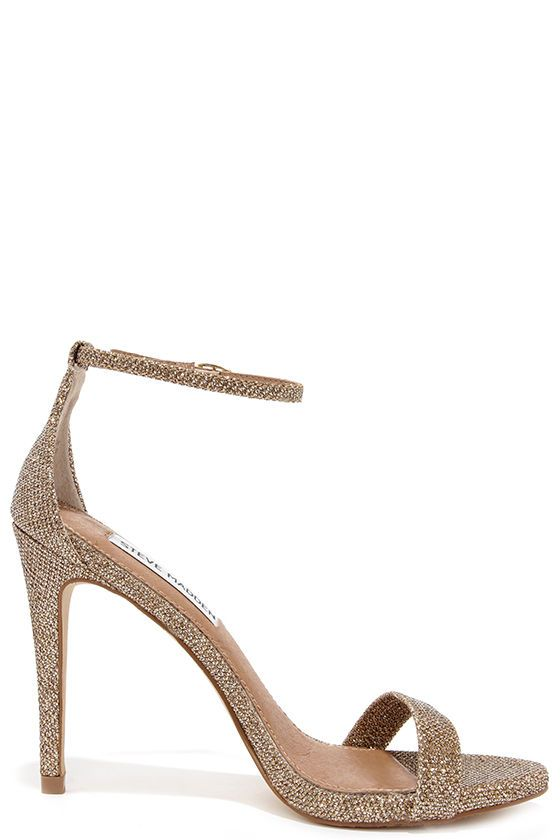 234892e1363 Steve Madden Stecy Gold Fabric Ankle Strap Heels
