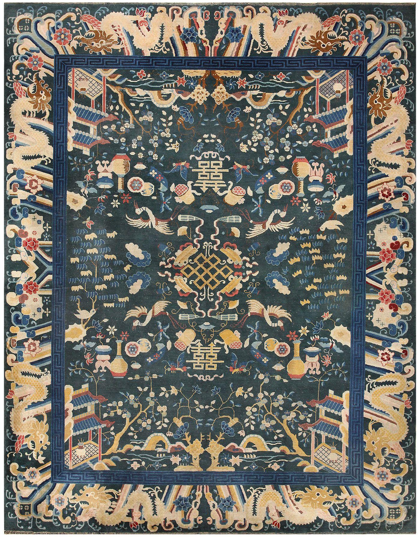 Rare Antique Dark Green Chinese Rug 48430 By Nazmiyal Antique Rugs Antique Carpets Animal Rug