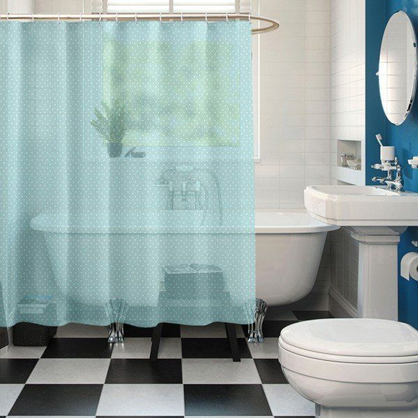 Blue Color Premium Ring Rod Bathroom Shower Curtains Online At Low Price In