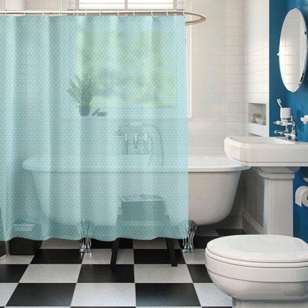 Blue Color Buy Premium Ring Rod Bathroom Shower Curtains Online
