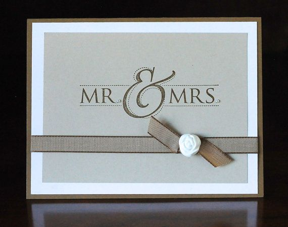 Mr Mrs Versatile Wedding Card Handmade Blank Inside