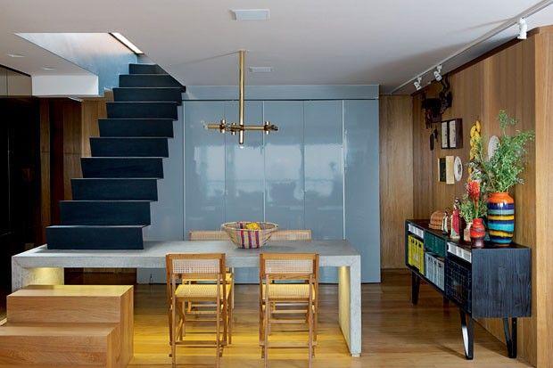 treppen design integriert esstisch beton moderne wohnungsgestaltung ...