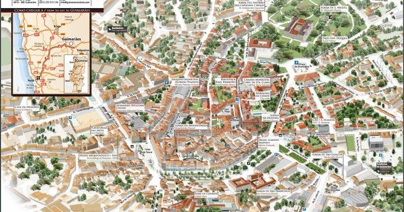 mapa turistico guimaraes Mapa turístico de Guimarães #viagem #lisboa #portugal | Dicas de  mapa turistico guimaraes